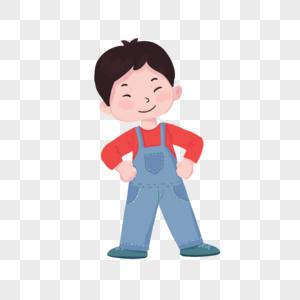 背带裤可爱微笑男孩图片