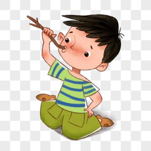 叼着木棍的男孩图片