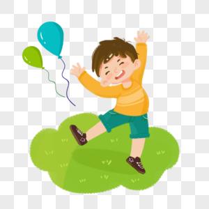欢呼喜悦气球男孩图片