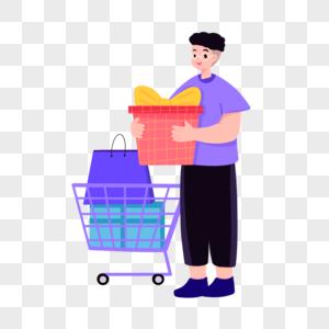 购物的男孩图片