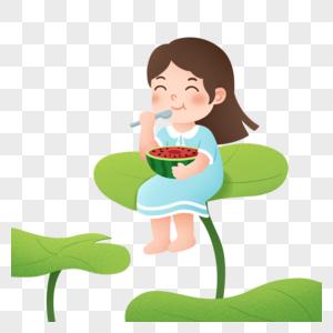 小女孩坐在荷叶上吃西瓜图片