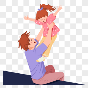 和孩子一起玩耍的年轻父亲图片