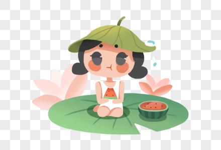 坐在荷叶上吃瓜的女孩图片