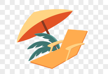 躺椅和遮阳伞图片