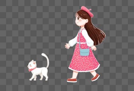 散步的女孩和猫咪图片