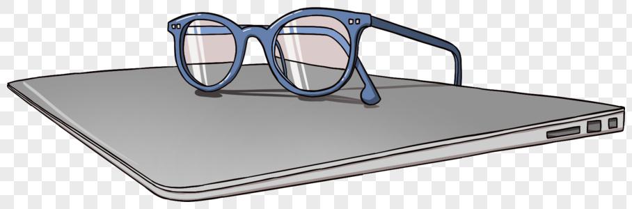 商务办公眼镜和电脑元素图片