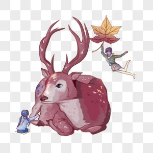小孩和鹿图片