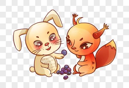 小松鼠和小白兔分享浆果图片