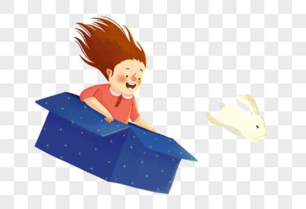 奔月的女孩和玉兔图片