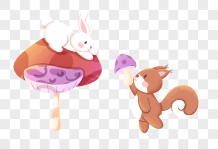 秋天采蘑菇的兔子和松鼠图片