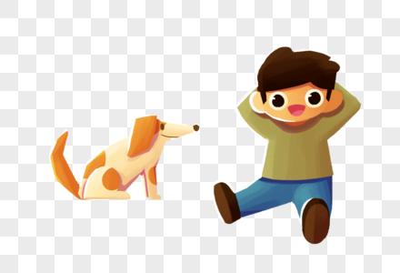 秋天的男孩和狗图片