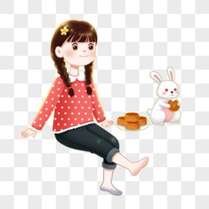 中秋节女孩和玉兔图片