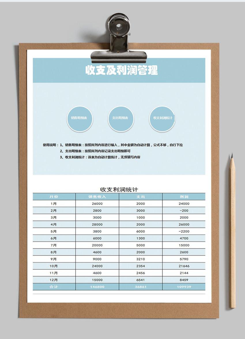 收入及利润管理Excel模板图片