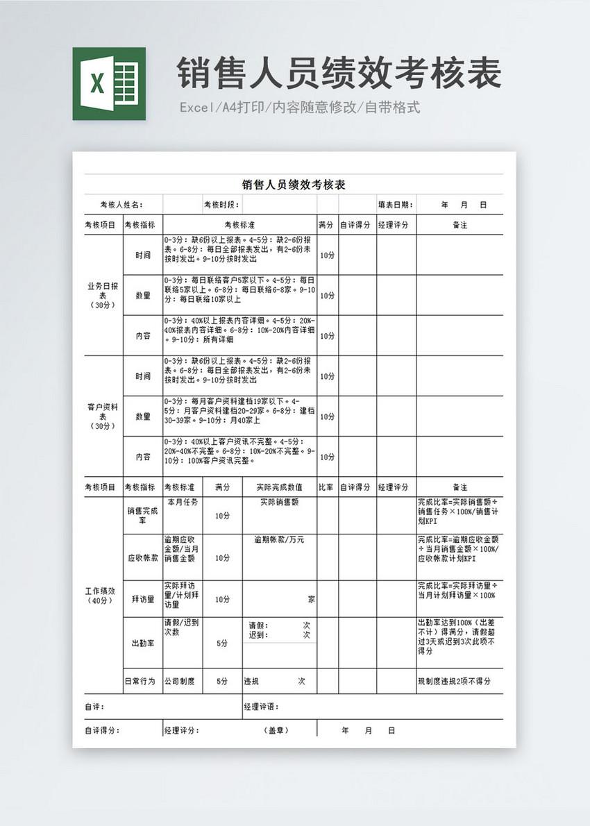 销售人员绩效考核表Excel表图片