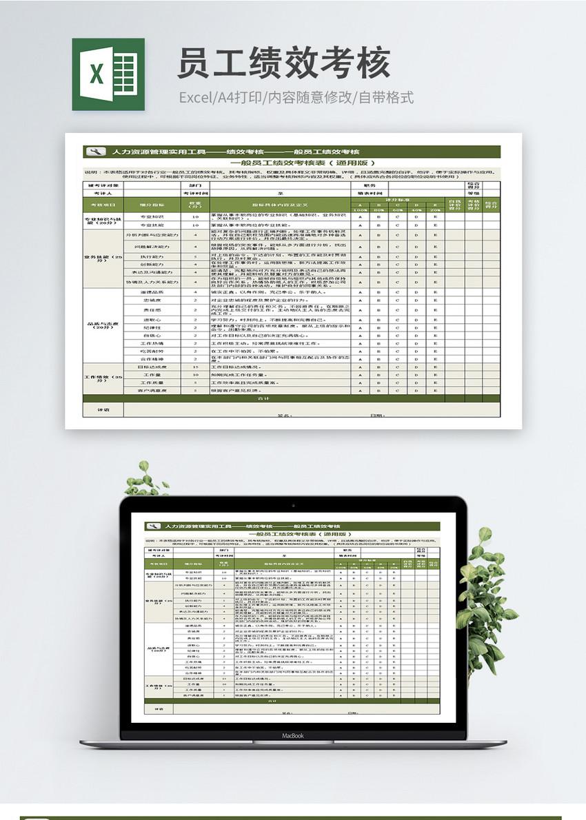 一般员工绩效考核表模板图片
