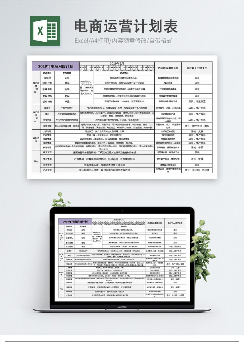 电商运营计划表格月计划年计划图片