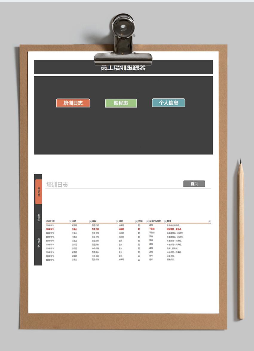 人事管理员工培训系统excel表格模板图片