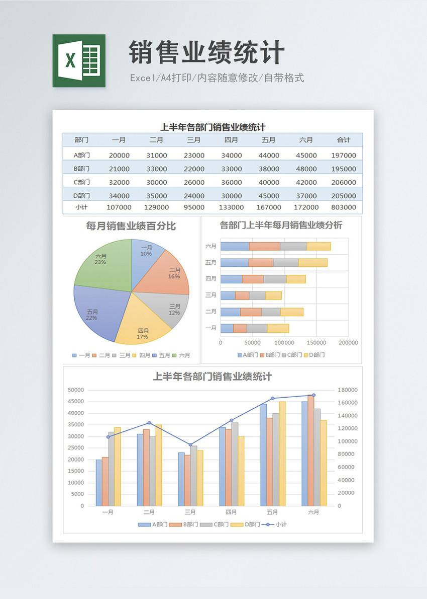 淡雅上半年销售业绩统计Excel表格模板图片
