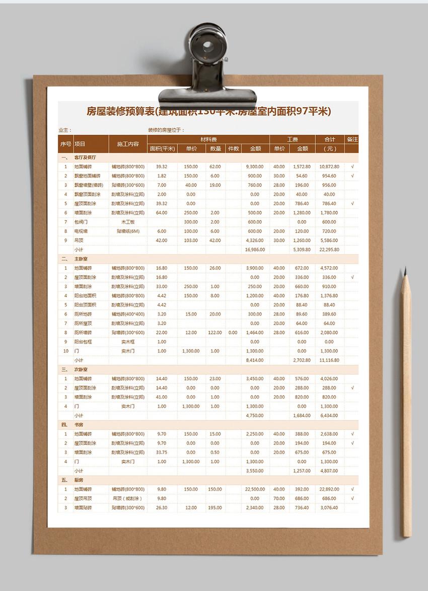 装修预算表excel模板图片