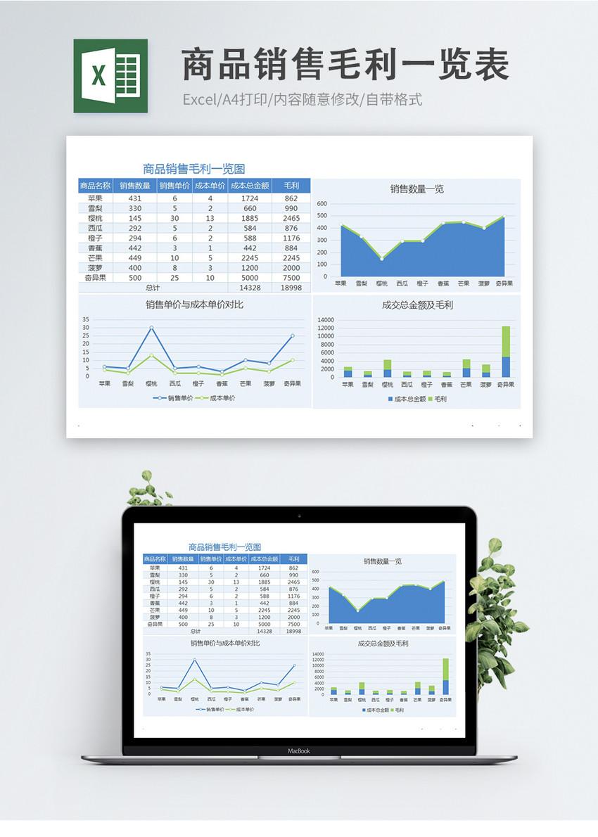商品销售毛利一览表图片