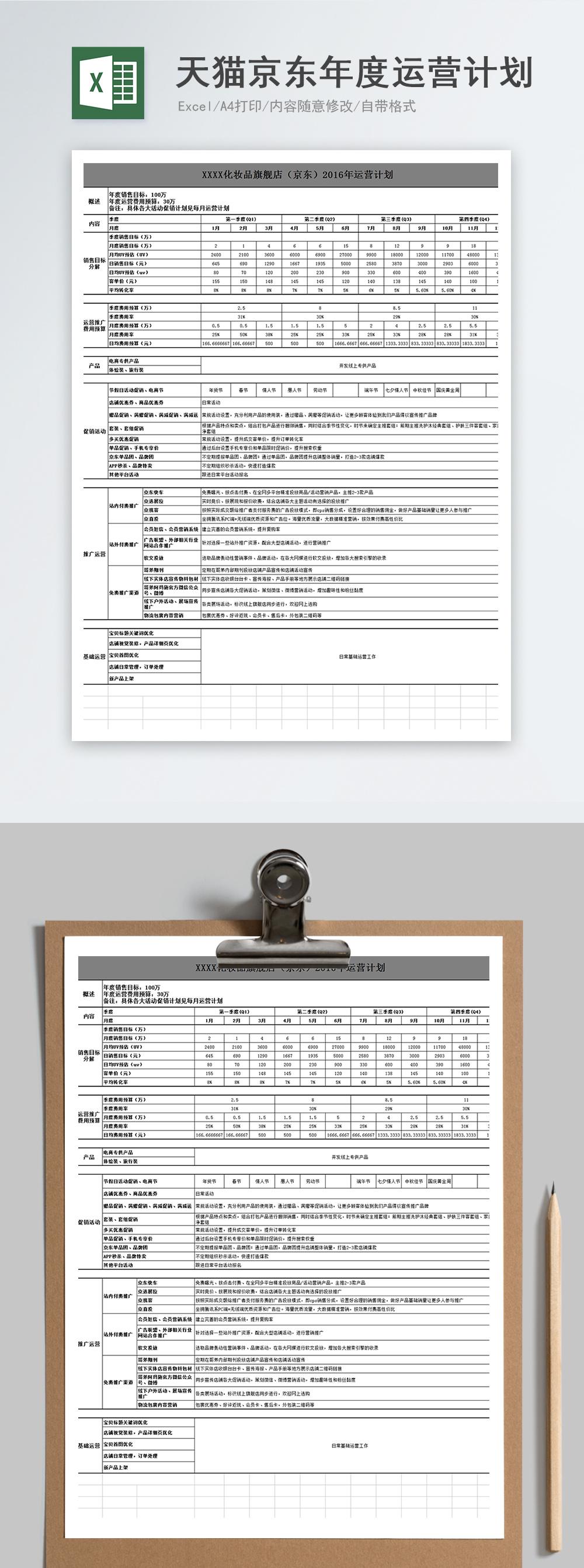 天猫京东店铺年度运营计划Excel模板图片