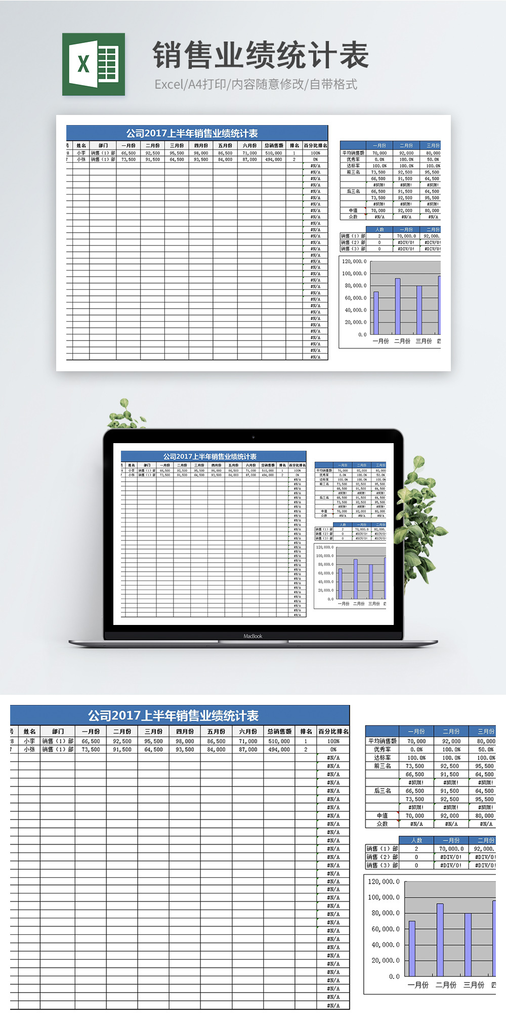 销售业绩统计Excel模板图片