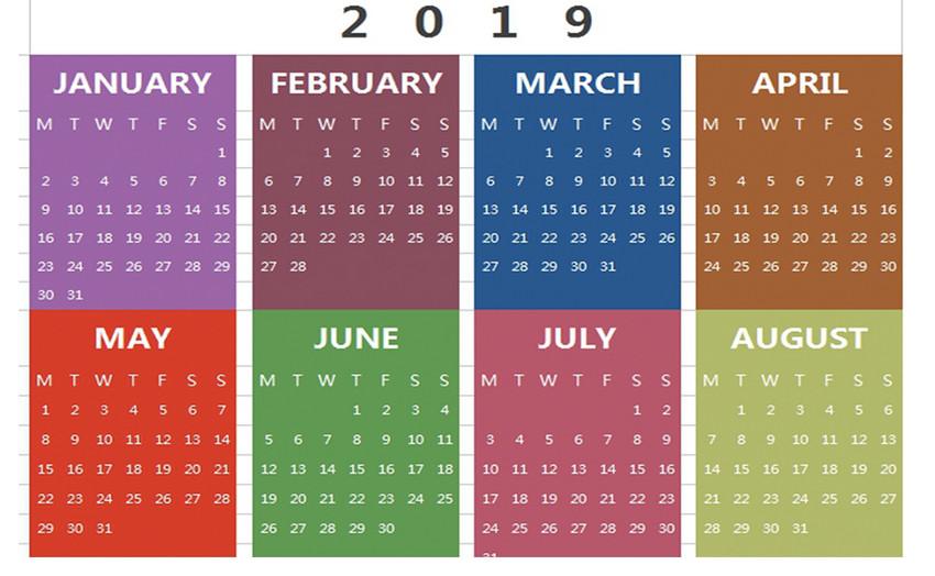 2019日历Excel模板图片