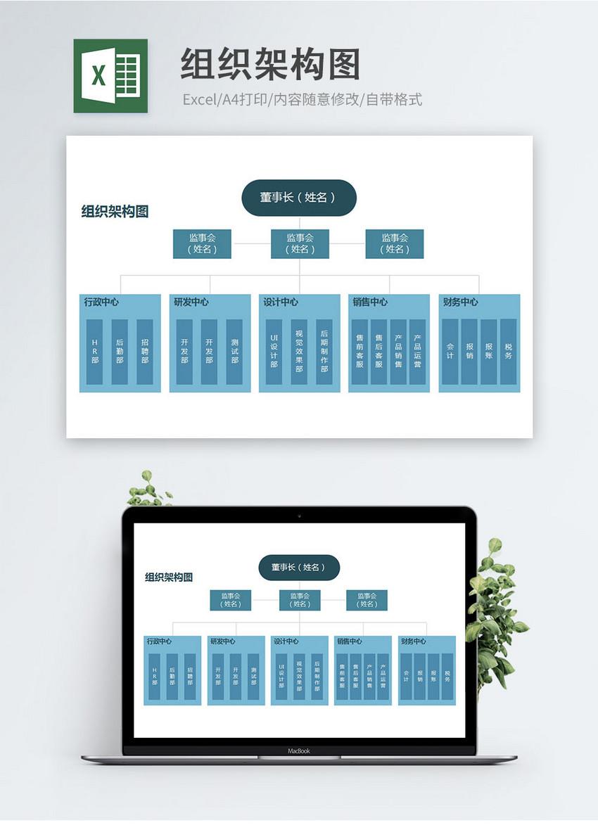 公司组织架构图Excel模板图片
