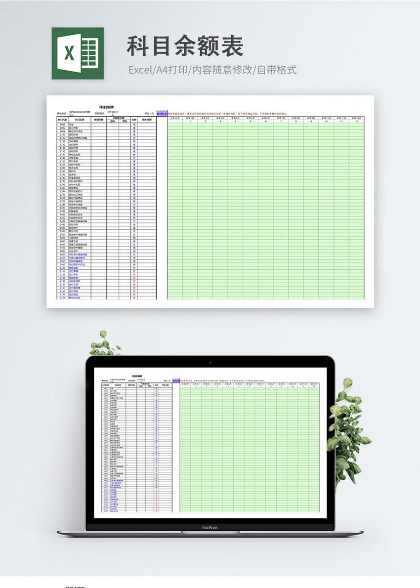 科目余额表excel表格模板图片