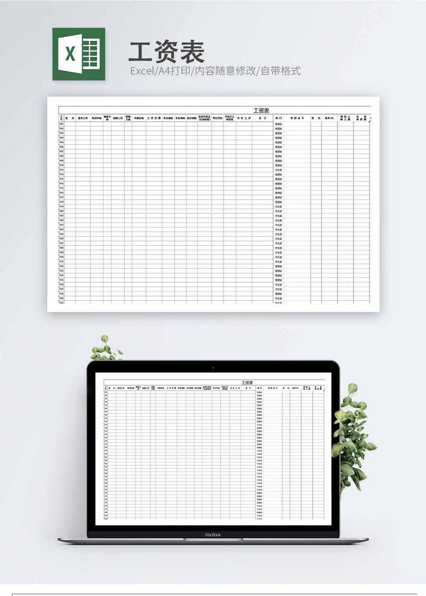 工资表Excel模板图片