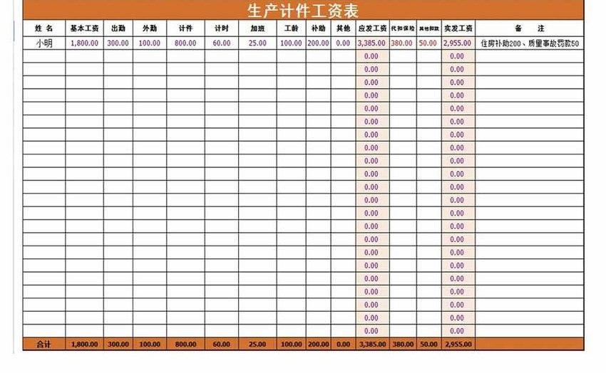 生产计件工资表Excel模板图片