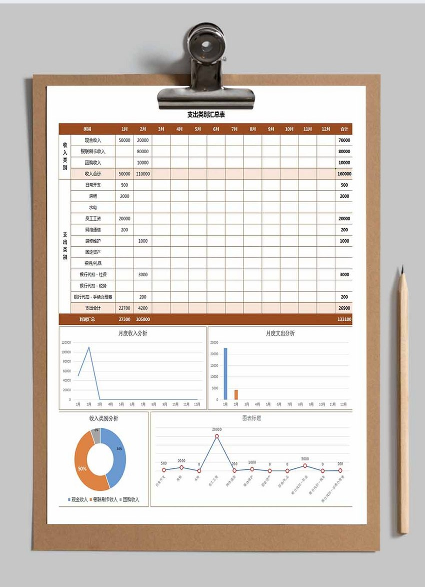 收支明细及利润汇总表Excel模板图片