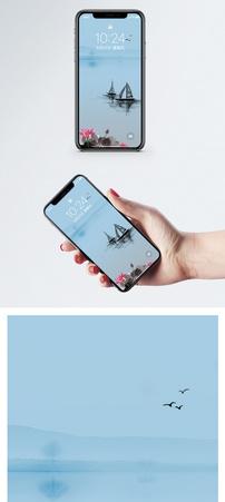 荷花和小船手机壁纸图片
