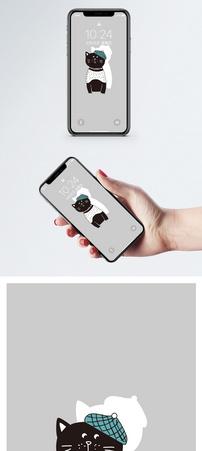 戴帽子的猫手机壁纸图片