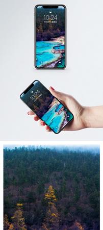 黄龙五彩池手机壁纸图片