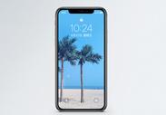 沙滩椰子树手机壁纸图片