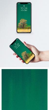 碧绿湖边一棵树手机壁纸图片