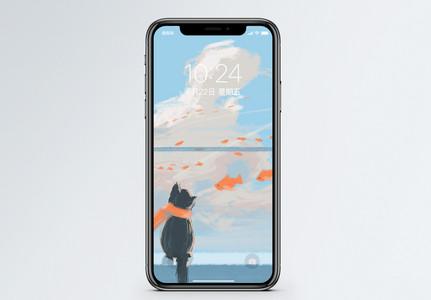 猫与鱼手机壁纸图片