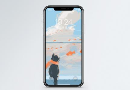 猫和很多鱼手机壁纸图片