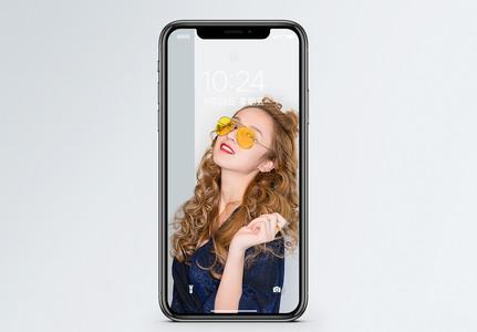 眼镜美女手机壁纸图片