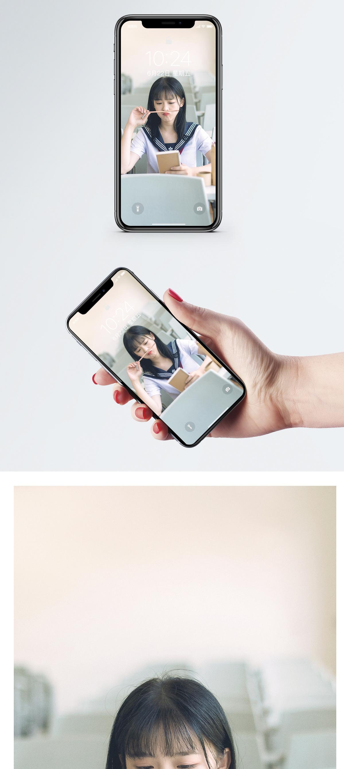 清纯校园美女手机壁纸图片