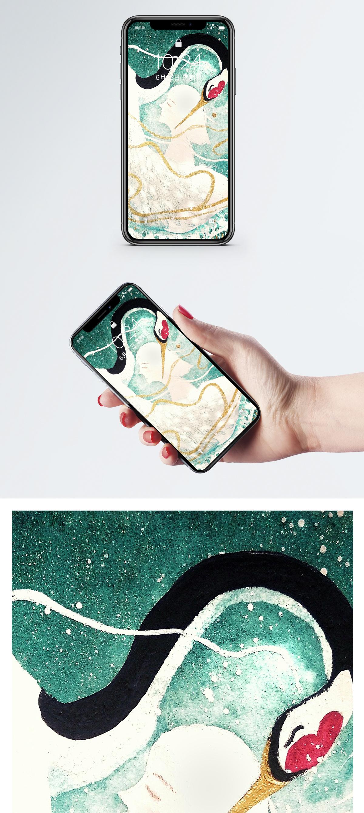 女孩与仙鹤手机壁纸图片