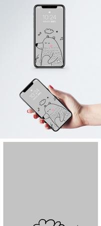 小熊手机壁纸图片