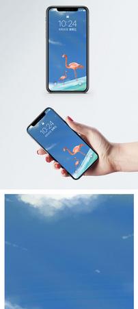 火烈鸟亲情插画手机壁纸图片