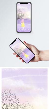 少女的背影手机壁纸图片