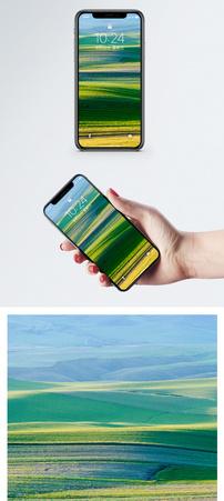 线条绿草原手机壁纸图片