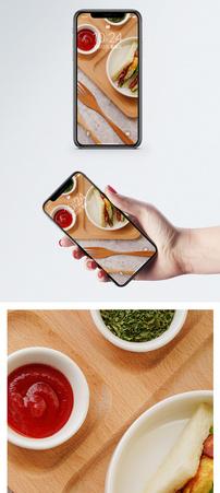 早餐三明治手机壁纸图片