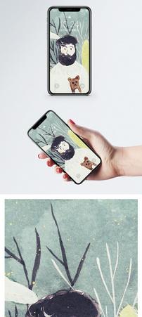 手绘人物手机壁纸图片