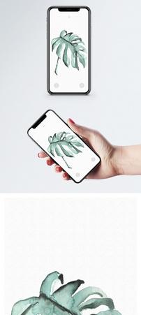水彩叶子手机壁纸图片