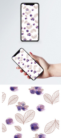 水彩蓝莓手机壁纸图片